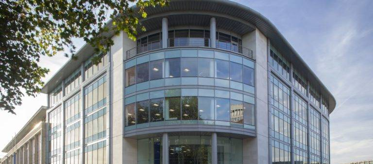 Commercial building with large aluminium windows