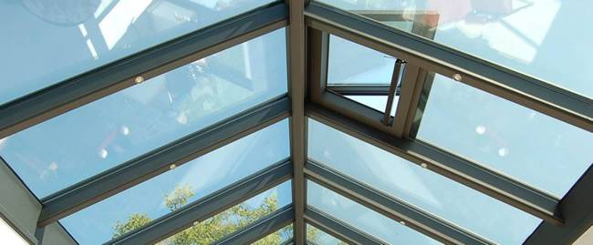 Aluminium roof lantern roof light close up windows clear skies sunny day